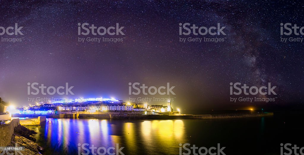 Starry Skies over Porthleven stock photo