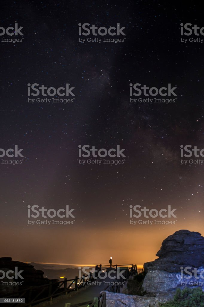 Starry sky background at night in El Torcal de Antequera natural park stock photo