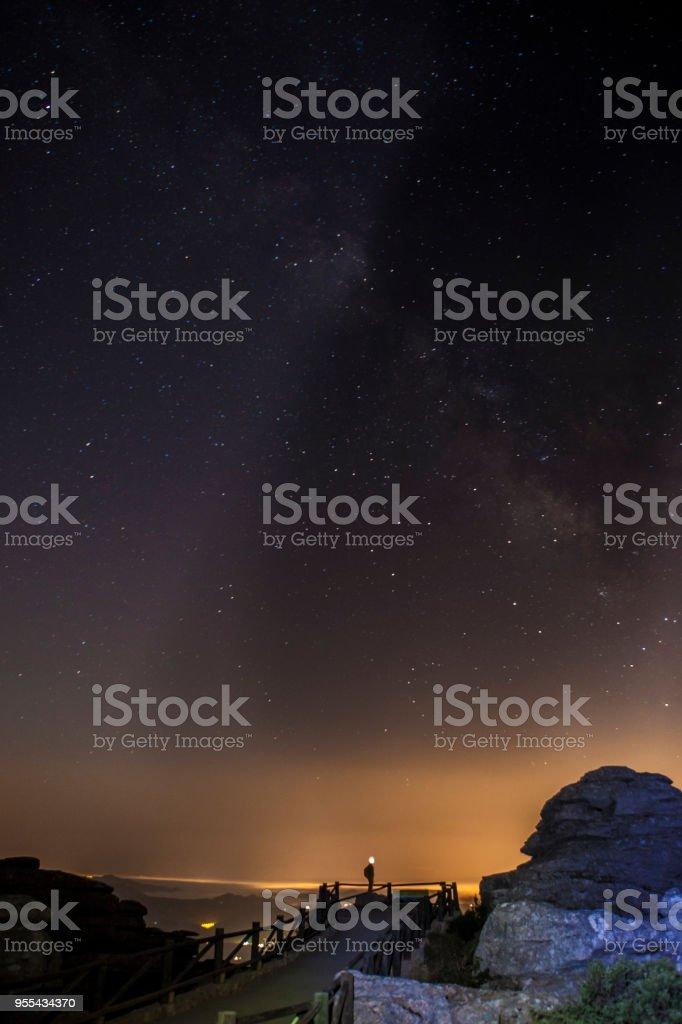 Sternenhimmel Hintergrund in der Nacht im Naturpark El Torcal de Antequera – Foto