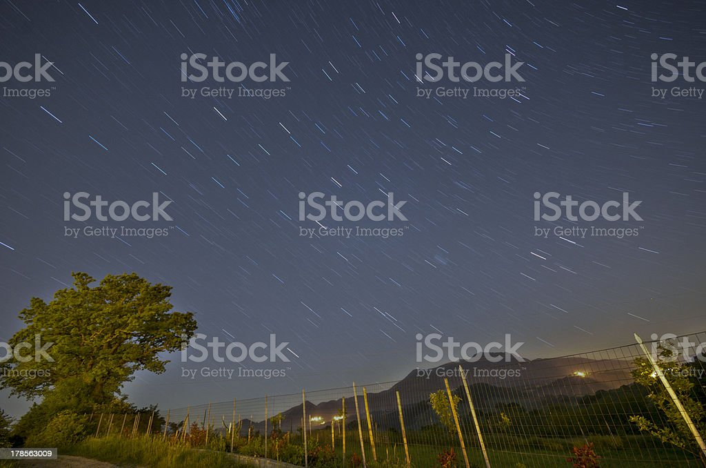 starry sky in sassoferrato stock photo