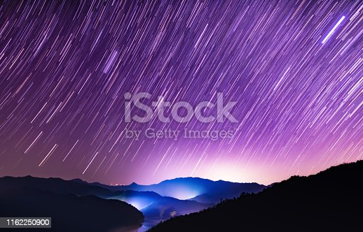 Scene of starry sky meteor shower on high mountains in summer, South China. Shot with Nikon D810