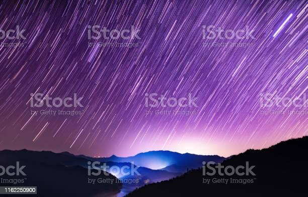 Photo of Starry sky meteor shower scene