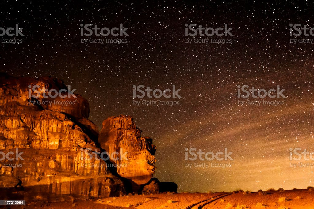 Starry sky on desert of Wadi Rum stock photo
