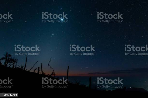 Photo of A starry sky taken from the mountains at dawn
