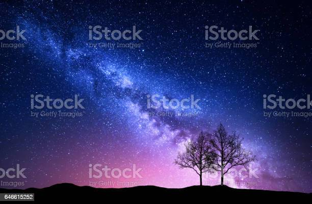 Photo of Starry sky with pink Milky Way. Night landscape with alone trees on the hill against colorful milky way. Amazing galaxy. Nature background with beautiful universe. Astrophotography