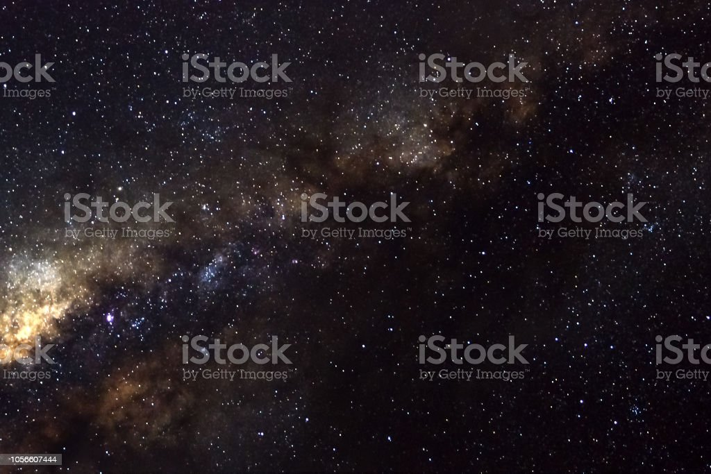 Stars and galaxy outer space sky night universe black background - Stock image .