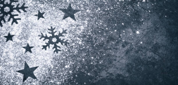 Stars and Ice Crystals - Holiday Blackboard Metal Baking Plate Vintage stock photo