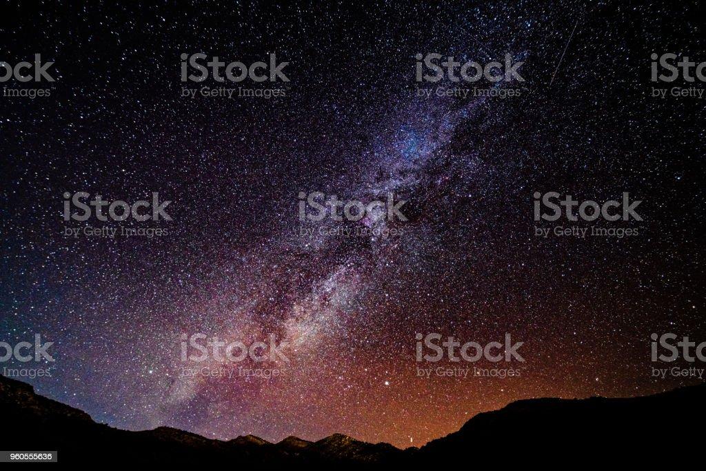 Stars and Milky Way Desert Canyon Landscape stock photo