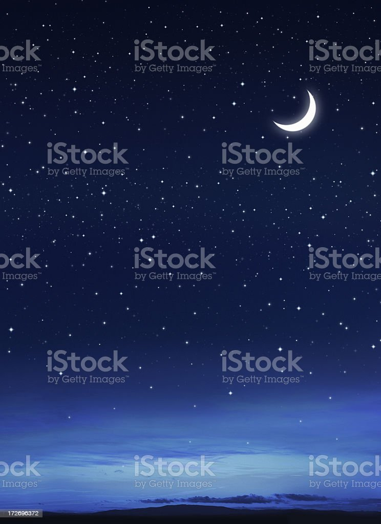 Stars and Moon on the Dark Blue Sky stock photo