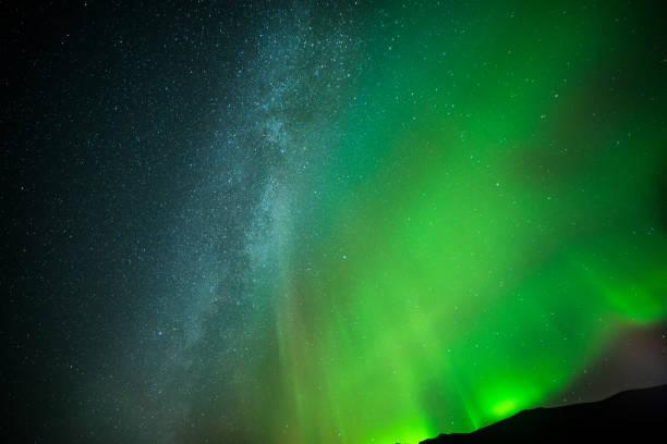 Stars and northern light stock photo