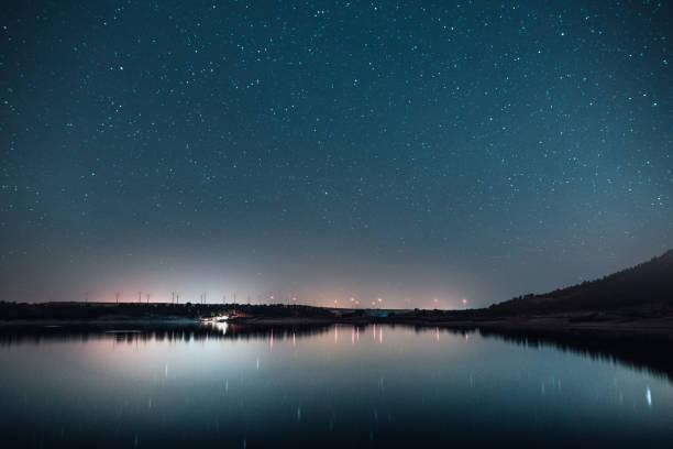 étoiles et réflexion - grande ourse photos et images de collection