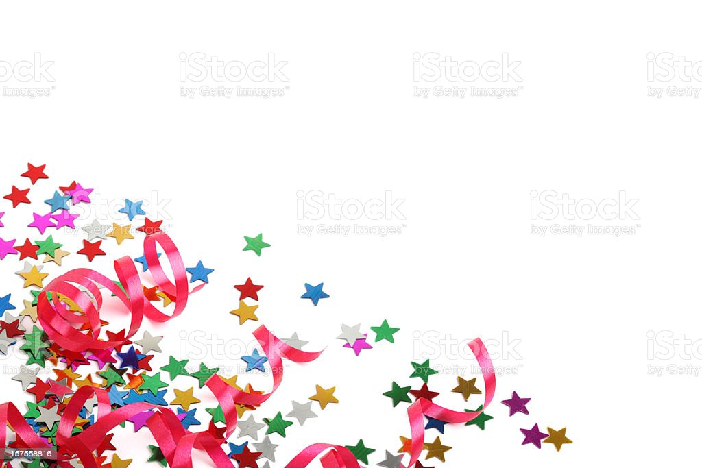 Stars and streamers party decoration XXXL on white  stock photo
