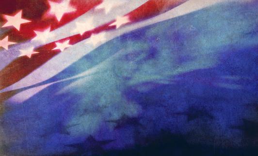 digital grunge illustration of illuminated stars and stripes