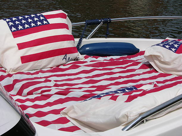 Stars and Stripes boat stock photo