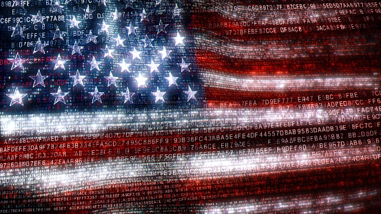 The USA in the digital world of binary and hex code. Concept 3D Illustration of Stars and Stripes banner in computer code depicting the modern challenges of internet and American matters in cyberspace