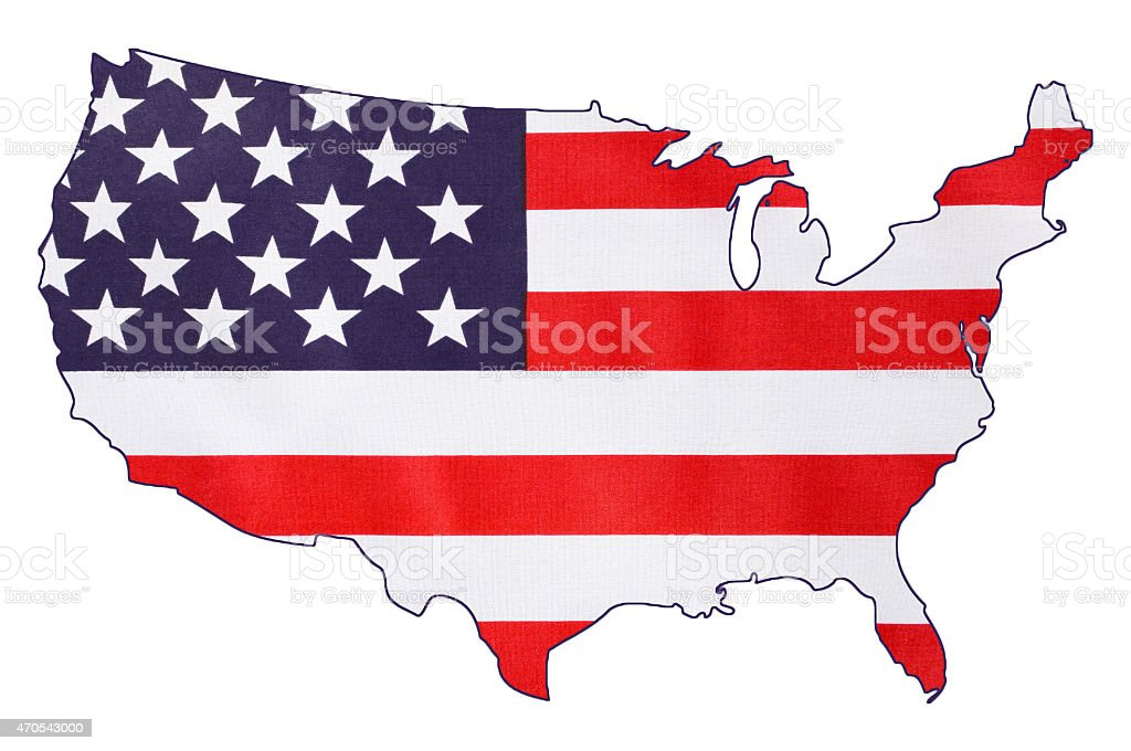 USA Stars and Stripes flag within outline of USA map. stock photo