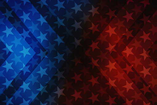 USA stars and stripes illustration background with decorative elements that refer to the American flag. Colorful image usable for USA politics and government, celebration events, american contents, national landmarks and wallpaper. XXXL size concept image with copy space available for text.
