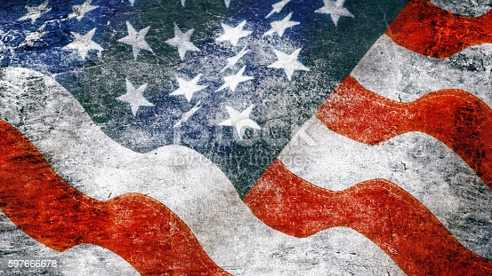 istock Stars and stripes in grunge style 597666678