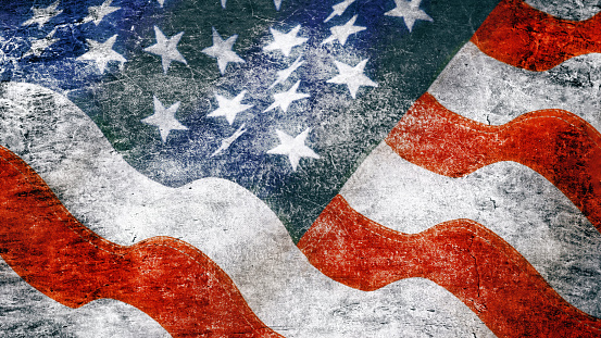 182764873 istock photo Stars and stripes in grunge style 597666678