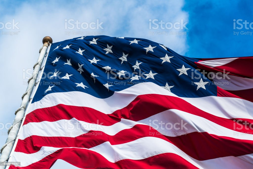 Stars and Stripes on American Flag stock photo