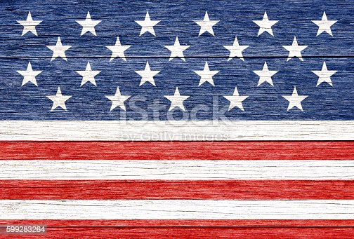 579407234 istock photo Stars and stripes on wood 599283264
