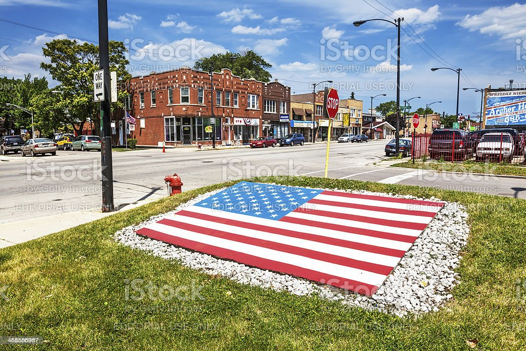 Stars and Stripes War Memorial, Archer Heights, Chicago royalty-free stock photo