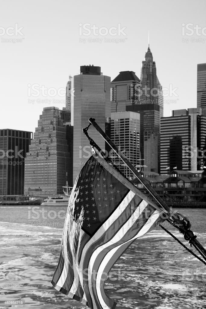 Stars and Stripes with skyscrapers royalty-free stock photo