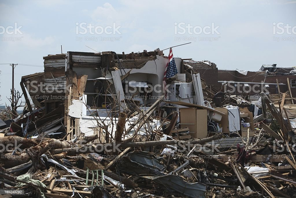 Stars and Strips hangs limp after Deadly Tornado stock photo