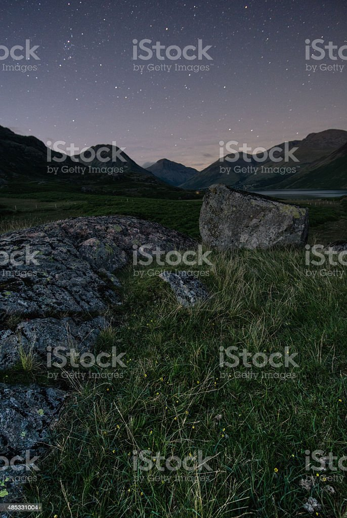 Stars At Night At Wast Water In The Lake District. stock photo