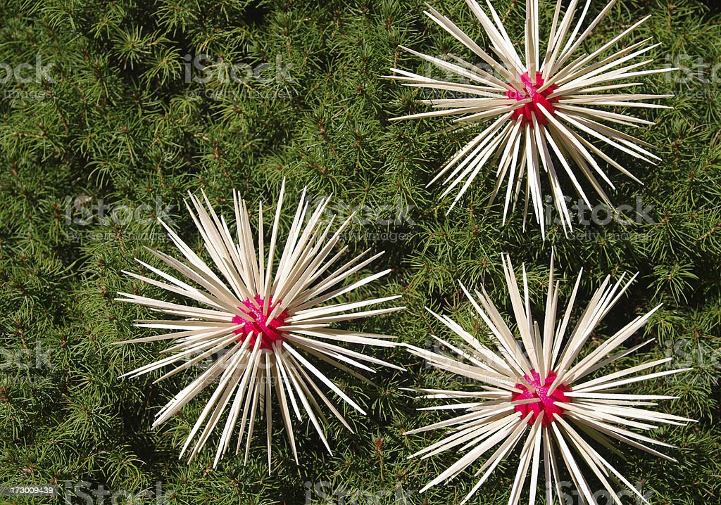 Stars - homemade decoration on christmas tree royalty-free stock photo