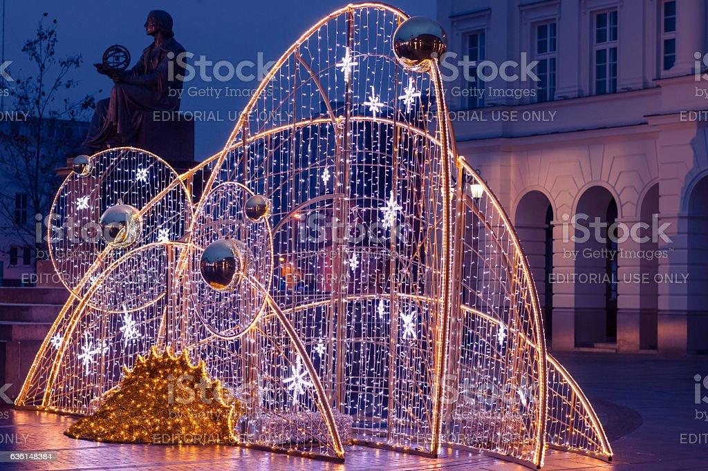 'Stars' Illumination near main street of Old Town in Warsaw. stock photo