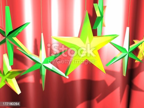 istock 3D Stars In Front of Curtain Background 172180264