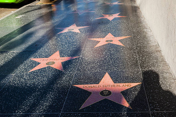 stars  like Donald Sutherland or Friz Freleng on Hollywood Boulevard Los Angeles, USA - June 24, 2012: many stars  like Donald Sutherland or Friz Freleng on Hollywood Boulevard. The stars are located on Hollywood Blvd. and is one of 2400 celebrity stars. walk of fame stock pictures, royalty-free photos & images