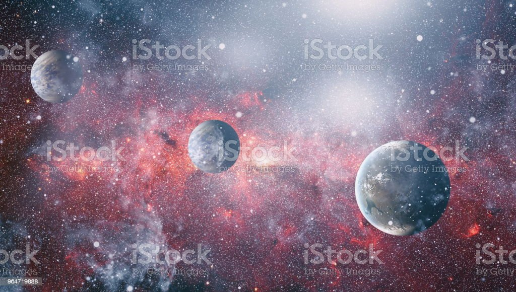 Stars of a planet and galaxy in a free space. Elements of this image furnished by NASA . royalty-free stock photo
