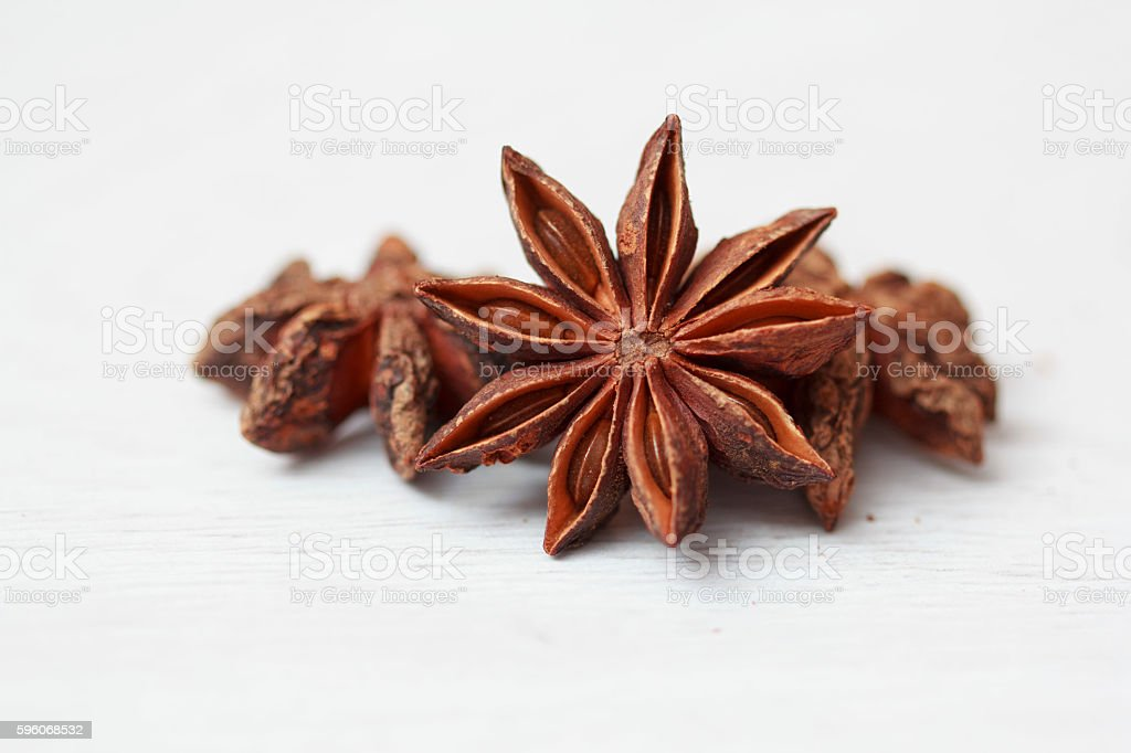 Stars of anise isolated on white background royalty-free stock photo