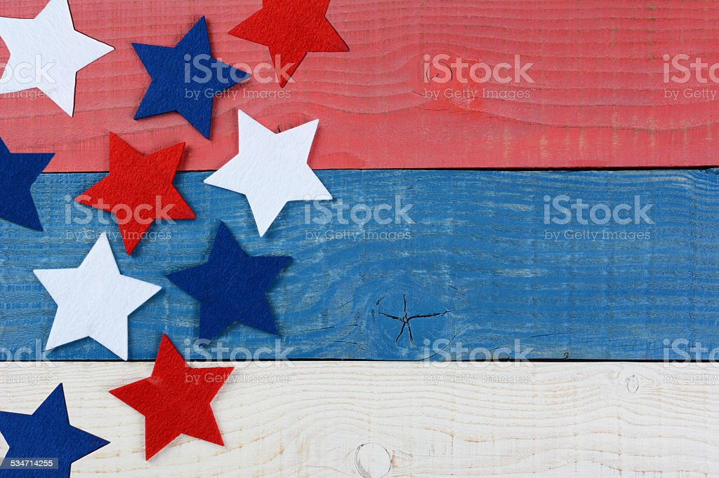 Stars on Red White and Blue Table stock photo