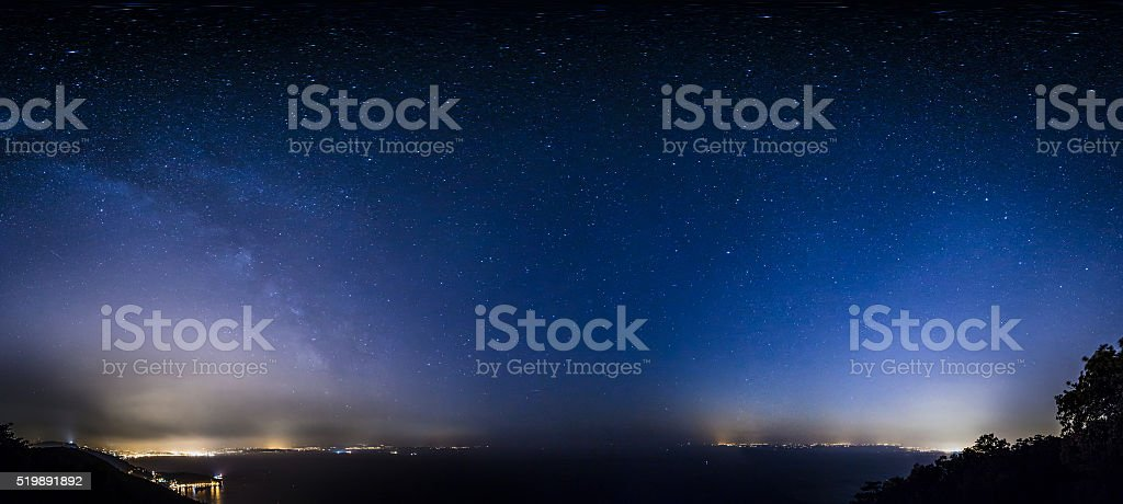 stars on the bay of Trieste stock photo