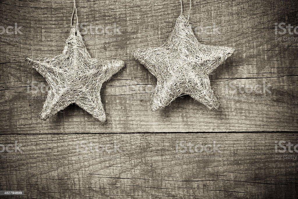 Stars on wood background stock photo