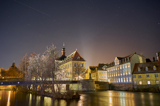 Stars over Bamberg Old Town Hall at night