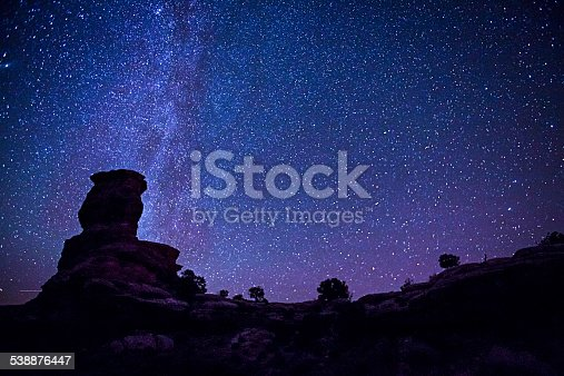 Stars over rock formations in Canyonlands National Park in Utah.