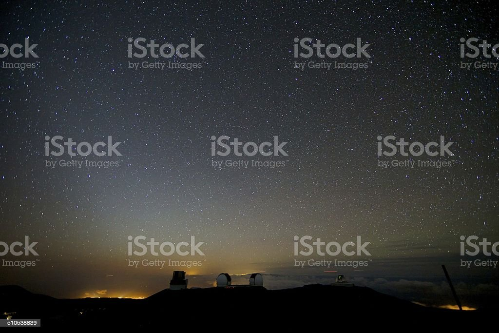 Stars over Mauna Kea Telescopes stock photo