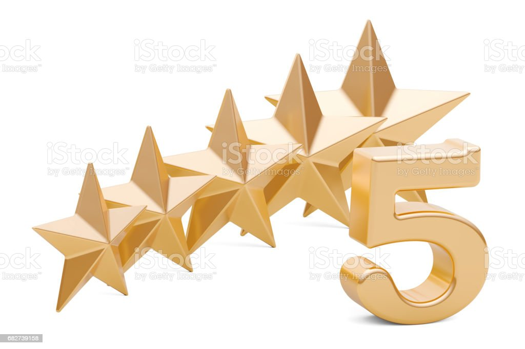 5 stars rating concept, 3D rendering isolated on white background stock photo