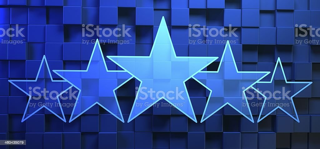 Stars rating on blue background stock photo