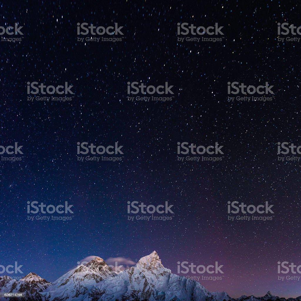 Stars shining above Mt Everest summit Himalaya mountain peaks Nepal stock photo