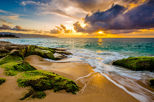 A gorgeous sunset along the coast of Oahu's North Shore in Hawaii
