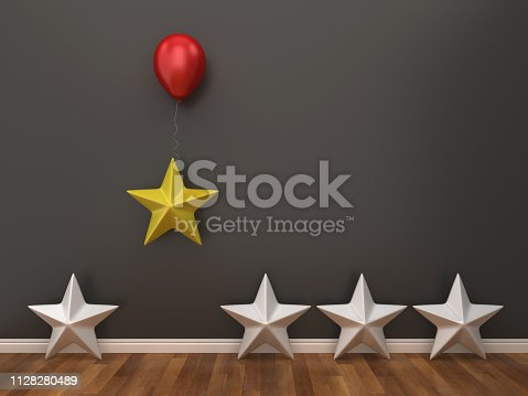 Stars with Balloon in Room - 3D Rendering