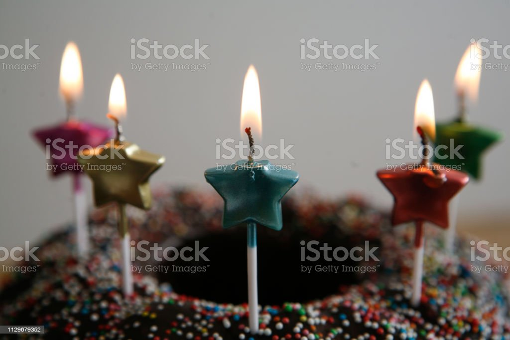 Star Shaped Candles On Birthday Cake Gugelhupf Flame Royalty Free Stock