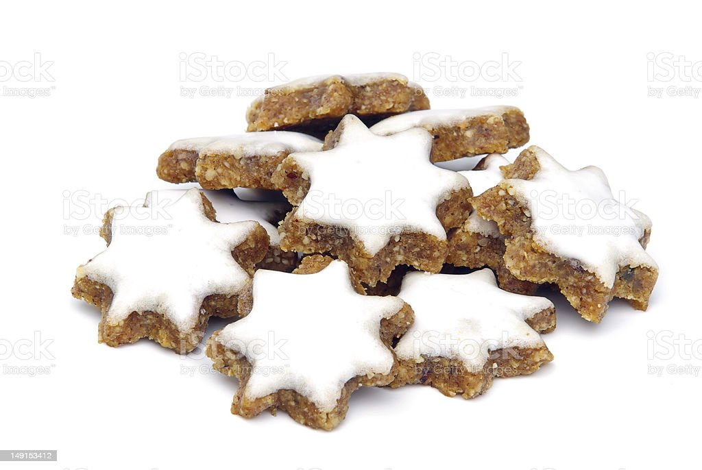 star-shaped cinnamon biscuit stock photo