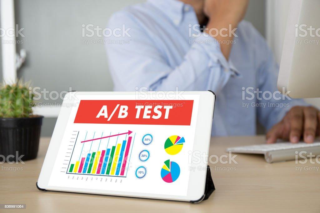 A/B TEST start and  A-B comparison. Split testing stock photo