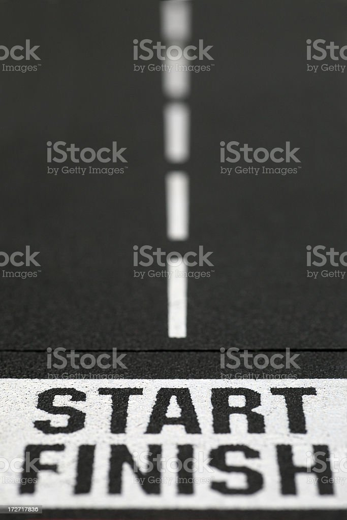 Start and finish line in roadway stock photo